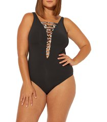 plus size women's bleu by rod beattie skin games lace-up one-piece swimsuit