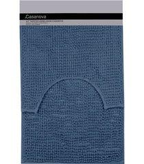 jogo de tapetes para banheiro popcorn 40x60cm azul