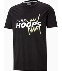 back p basketbal-t-shirt met korte mouwen heren, zwart, maat m   puma