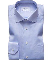 men's eton classic fit solid dress shirt, size 17.5 - blue