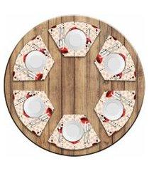 jogo americano love decor  para mesa redonda wevans xícara de café kit com 6 pçs