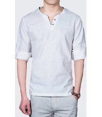 maglietta a maniche lunghe da uomo in lino casual con colletto alla moda tinta unita