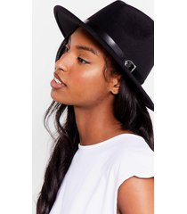 womens hats off to you faux wool fedora hat - black