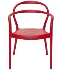 cadeira com braços em polipropileno sissi 79x58x51,5cm vermelha