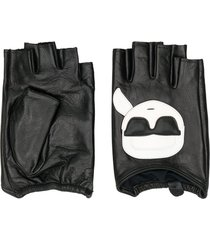 karl lagerfeld karl fingerless gloves - black