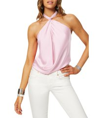 women's ramy brook convertible stretch silk charmeuse top, size small - pink