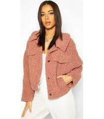 bonded teddy faux fur jacket, rose