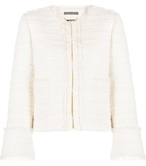 alberta ferretti tailored tweed jacket - white