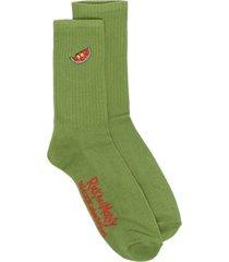 gcds rick & morty embroidered socks - green