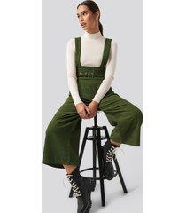 trendyol belted slim corduroy dungaree - green