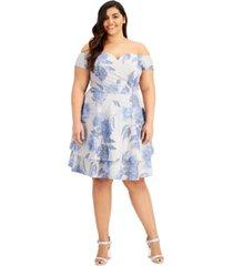 b darlin trendy plus size floral-print off-the-shoulder dress