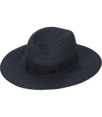 maison michel logo plaque panama hat - blue