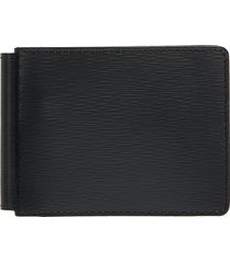 embossed calfskin leather money clip wallet