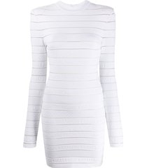balmain textured knitted dress - white
