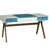 mesa escrivaninha delacroix 430 nogal/branco/azul - maxima