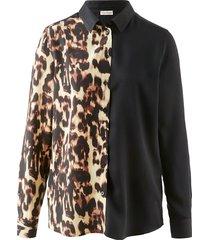 blouse alba moda zwart::bruin
