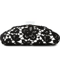 chanel pre-owned 2010 large floral lace clutch - black