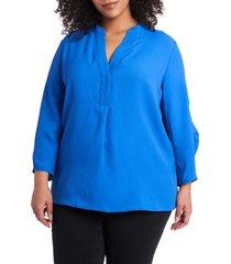 plus size women's vince camuto ruched sleeve split neck blouse, size 3x - blue