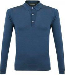 john smedley tyburn deep teal ls polo shirt 028