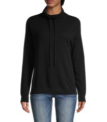 amicale women's drawstring funnelneck cashmere sweater - black - size xs