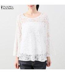 zanzea verano de las mujeres suéter de la blusa tee camiseta del partido del club de playa floral sheer la tapa del cordón -blanco