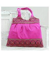 embroidered shoulder bag, 'fuchsia mandalas' (india)