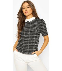 boucle double flanneled collared puff sleeve top, black