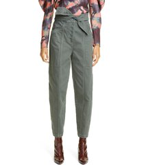 women's ulla johnson otto tie waist stretch cotton jeans, size 12 - green