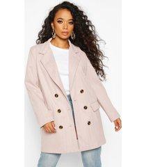 petite herringbone wool look double breasted coat, pink