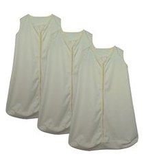 kit 3 saco de dormir bebê amarelo enxoval pijama algodão