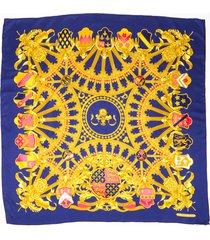 hermes british heraldry blue silk scarf blue/multicolor sz: