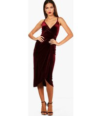 tall megan wrap velvet dress, plum