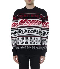 msgm black white and red wool blend sweater