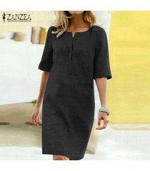 zanzea verano de las mujeres de manga corta con cuello en v vestido de las señoras de midi sueltos vestidos de la camiseta plus -negro
