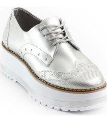priceshoes calzado casual oxford mujer 522alejaplata