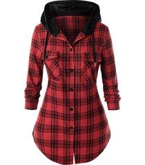 plus size plaid hooded flap pocket tunic shirt