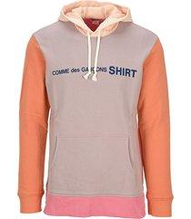 comme des garçons shirt color block logo hoodie