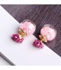 donna orecchini dolci eleganti con pallino di vetro e rosa stelle regalo per lei