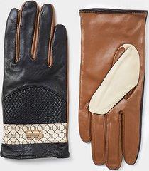 river island womens black ri monogram panelled gloves