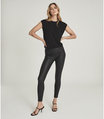 reiss goldie - leather leggings in black, womens, size 14