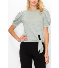 coin 1804 women's jacquard knit front tie pleat top