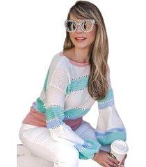 suéter tricot mania de sophia camadas manga bufante