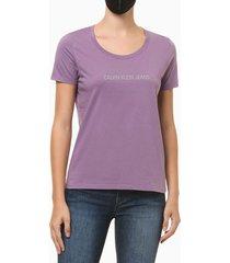 blusa feminina slim logo centralizado roxa calvin klein jeans - pp
