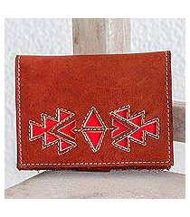 leather wallet, 'lively culture in redwood' (nicaragua)