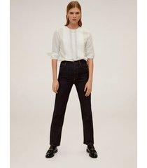 blouse met borduursel en plooien