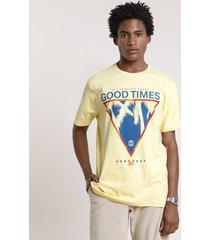 "camiseta masculina ""good times"" manga curta gola careca amarelo claro"