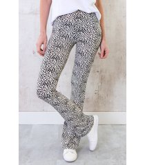 flared broek cheetah creme