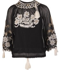 black blouse with floral pattern