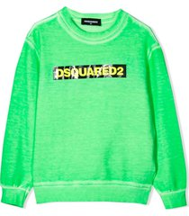 dsquared2 green cotton sweatshirt