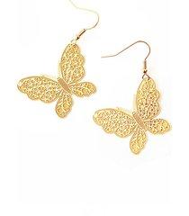 aretes acero dorado amme mariposa